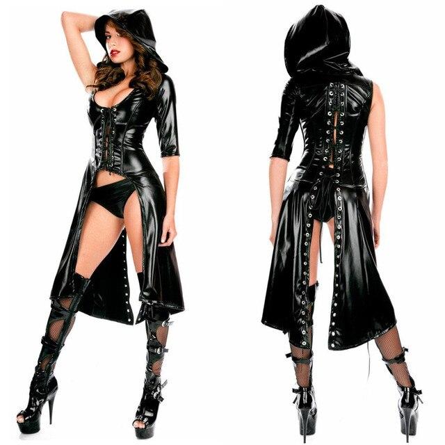 dbe2028177704 Siyah Rugan Elbise Catsuit Punk Gotik Coat Kapşonlu Uzun Elbise Seksi Deri  Iç Çamaşırı Caz Kutup