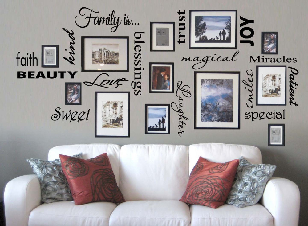 Free shipping family is vinyl wall lettering quote wall for Family room wall art