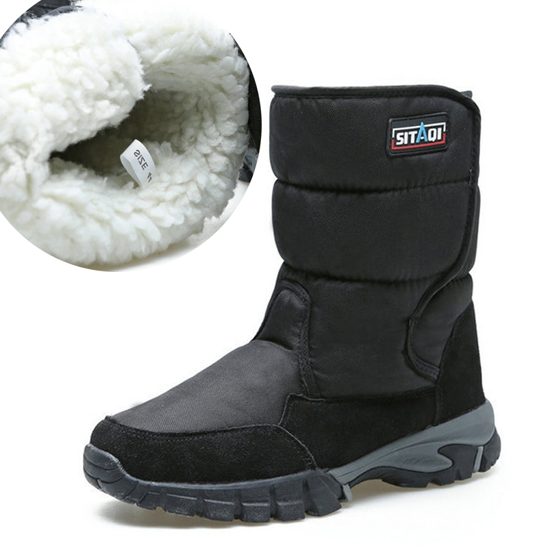 Men boots 2018 winter shoes thicken fur non slip waterproof snow boots men winter boots big size 40 48