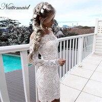 2016 Autumn Vintage Lace Dresses Off Shoulder Slash Neck Embroidery Floral White Dress Long Sleeve Elegent