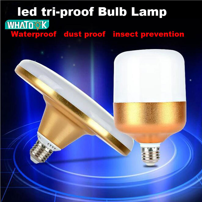 Super bright 220V Tri-Proof E27 <font><b>LED</b></font> UFO <font><b>Bulb</b></font> Lamp 10W 15W 20W 30W 40W 50W 60W Aluminum Golden 5730 <font><b>LED</b></font> Light waterproof Lampada image
