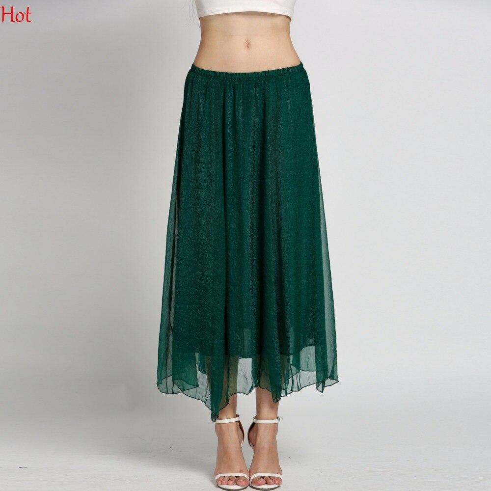 New Retro Lady Clothing Summer Styles Full Circle BOHO Gauze Chiffon Skirt Pleated Long Maxi Skirt Blue Green Wholesale SV002748