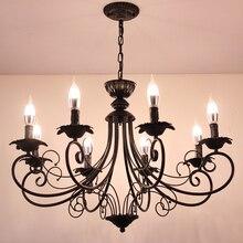 Скандинавская Люстра для гостиной, современное домашнее освещение, индивидуальная столовая черная люстра, ретро свеча, люстра