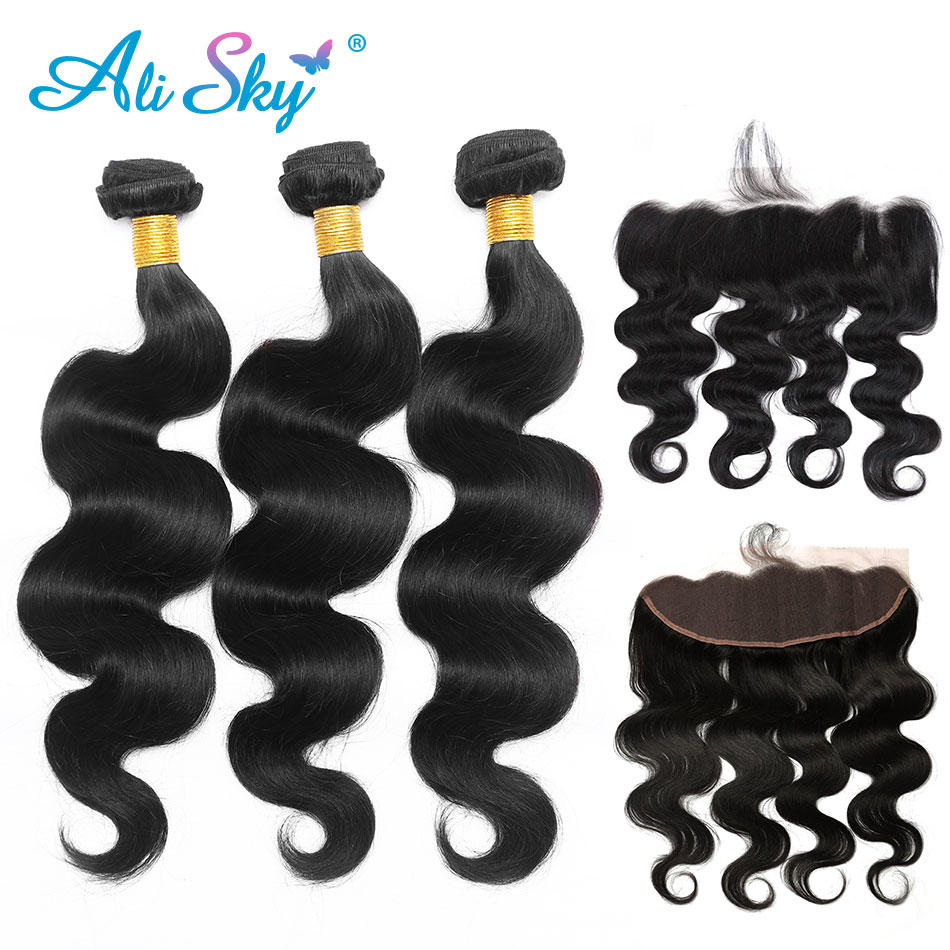 Peruvian body wave 3 Bundles with 13x4 Lace frontal With Baby Hair 100 human hair Non