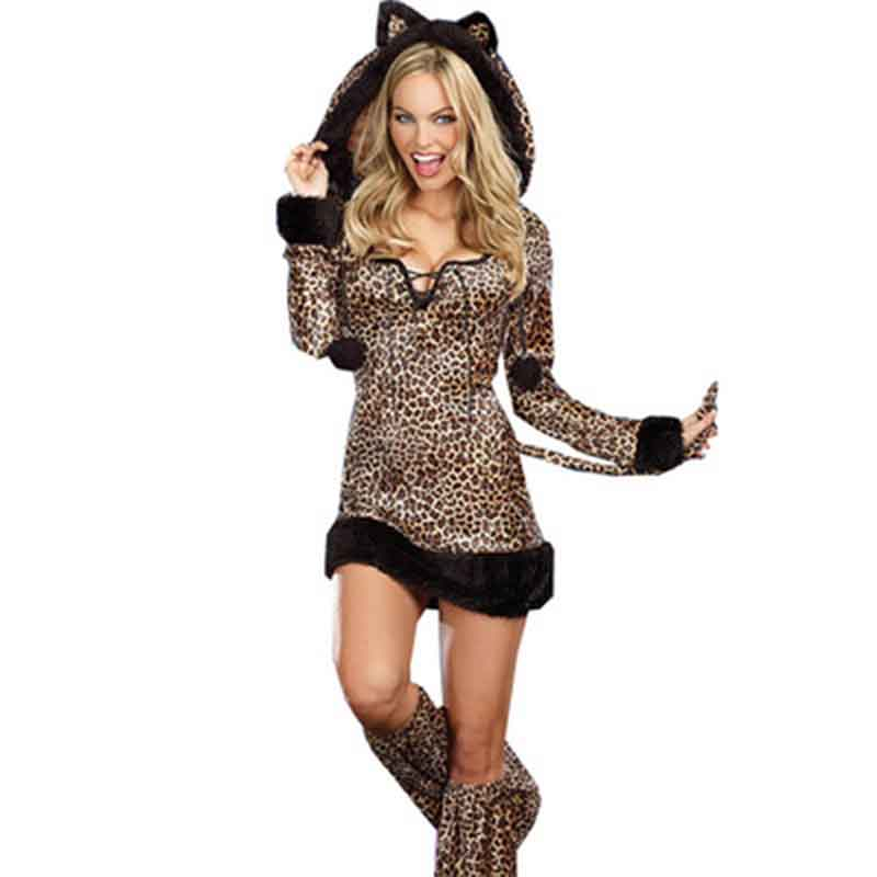 <font><b>Halloween</b></font> Costume For Women Animal <font><b>Sexy</b></font> Cosplay Leopard Printed Long Sleeve Hoodied Fancy <font><b>Dress</b></font> Performance Role-Playing Costume image
