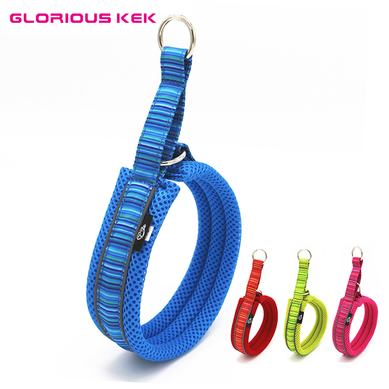 GLORIOUS KEK Dog Collars Reflective Adjustable Soft Mesh Padded Collar for Small Medium Large Dogs Striped Outdoor Dog Necklace