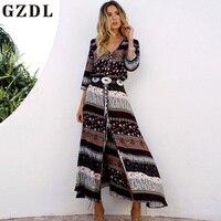 GZDL Boho Women Chiffon 3 4 Sleeve Dress Lace Sexy V Neck Autumn Dress Geometric Print
