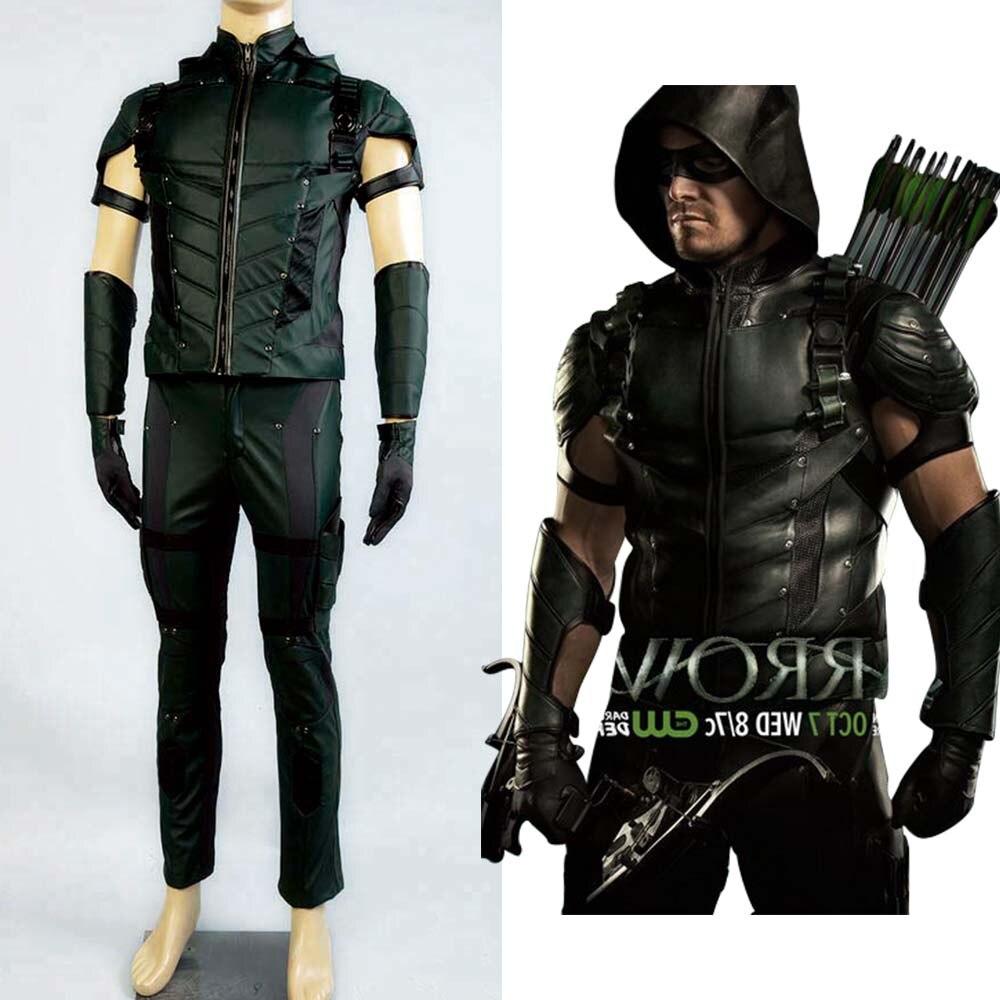 Green Arrow Season 4 Cosplay Costume Superhero Oliver Queen Green Arrow Costume Leather Full Set Uniform Suit Halloween Costumes