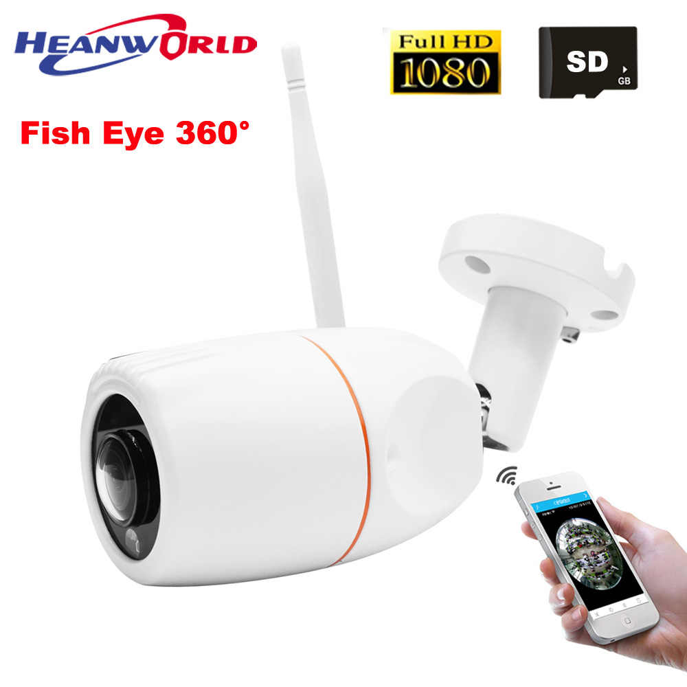 Fish Eye Wifi IP Camera 1080P Outdoor 2MP Wireless  security Camera Full HD 2MP SD Slot CCTV surveillance Camera panoramic view