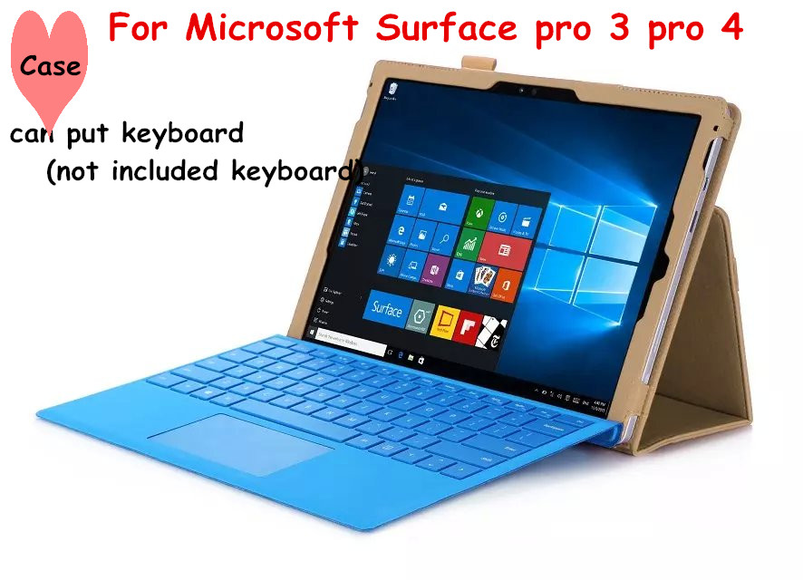 Accept wholesale Flip Cover For Microsoft Surface pro 3 pro 4 Tablet Case Leather Case With Hand holder (can put keyboard )