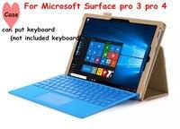 Accepteren groothandel flip cover voor microsoft surface pro 3 pro 4 tablet case lederen case met hand houder (kan zetten toetsenbord)