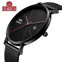OLMECA Quartz Mens Watches Fashion reloj hombre Calendar Date Wrist 3ATM Waterproof For Men Milanese Band Black