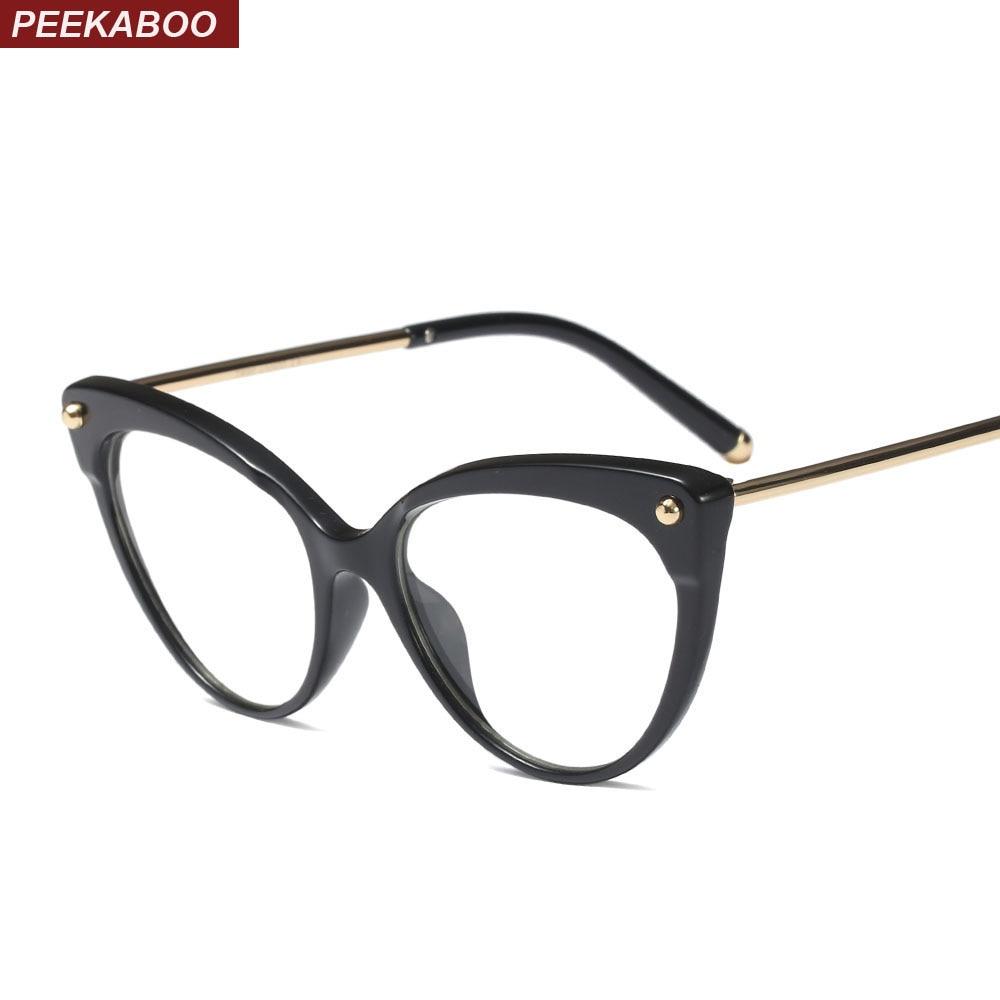 e06f7026dbe Peekaboo retro cat eye glasses frames for women 2019 transparent optical  eyeglasses frame TR90 half metal black leopard
