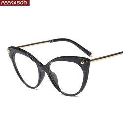 Peekaboo retro kocie oko ramki okularów dla kobiet 2019 przezroczyste okulary optyczne rama TR90 pół metalu czarny leopard