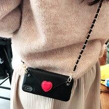 하트 크로스 바디 지갑 숄더 스트랩 케이스 커버 아이폰 11 12 프로 XS 맥스 XR 8 7 플러스 삼성 S10 참고 9 카드 슬롯 파우치