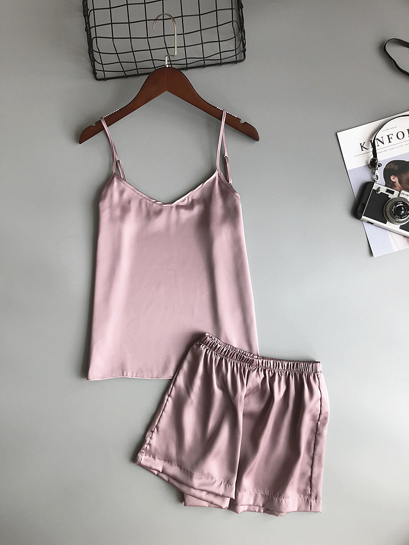 Freshing Summer Ice Silk Twinset Korean Fashion Women   Pajama     Set   Camisole   Pajamas   Woman Summer Vest Shorts Lingerie