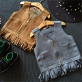 baby girls faux fur fringe vest tassel winter girl zipper coat pockets v-neck vest jackets for kids girls fur vests children's