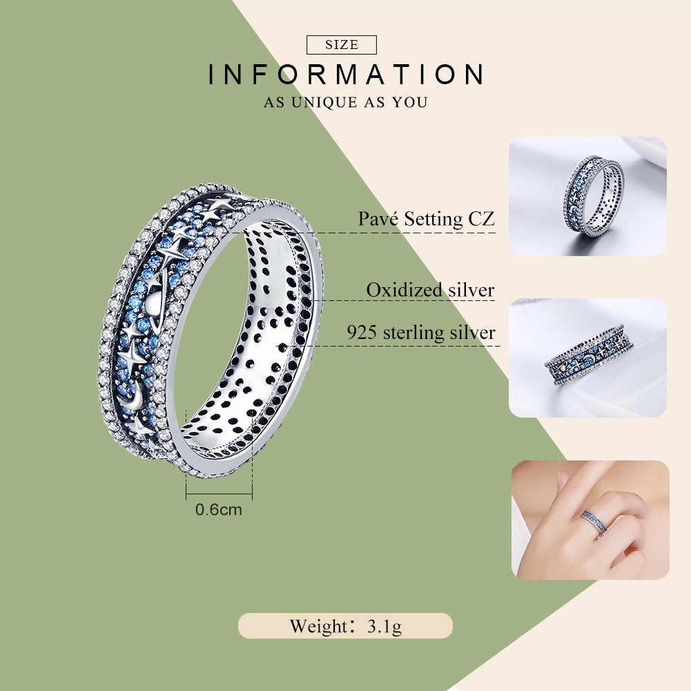BAMOER แท้ 925 เงินสเตอร์ลิงประกาย Sky งานแต่งงานค็อกเทลแหวนแหวนหมั้นแหวนเครื่องประดับ SCR347