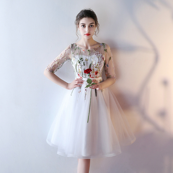 Fast Shipping Cheap Women Ivory Short Prom Dresses 2019 Sexy Black Prom Dress Scoop Tulle Embroidery Lace Up Evening Party Gown 5