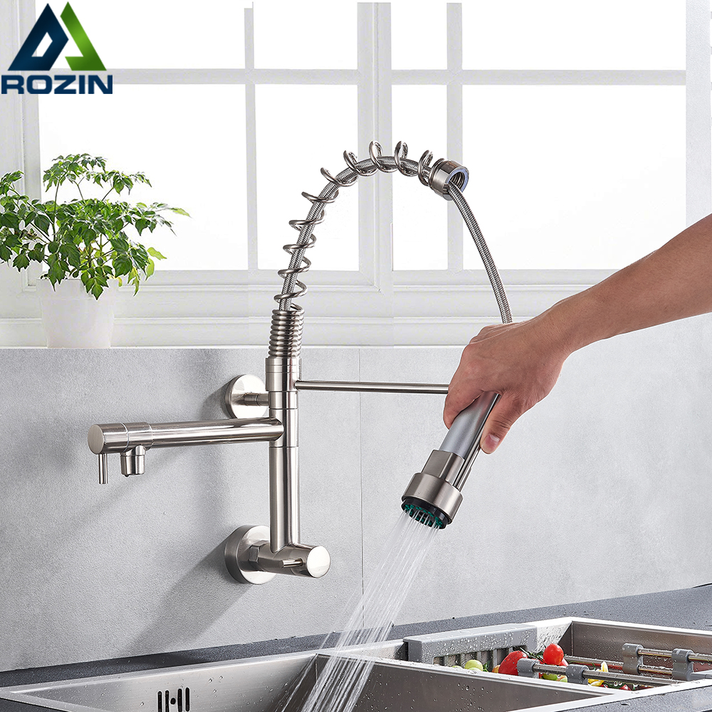 Brushed Spring Pull Down Kitchen Faucet Cold Water Dual Spouts Handheld Shower Kitchen Taps Wall Mounted Kitchen Washing Crane