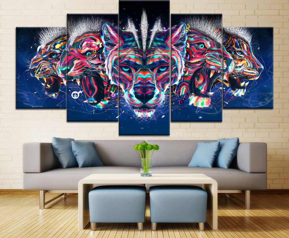 5 Pieces HD Printd Painting Abstract Artistic 3D 7 Color