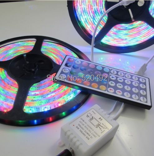 10M 3528 SMD 2x5M 300 Leds RGB  Waterproof Flexible LED Strip Light + 44 Key IR Remote For Home Decoration Freeshipping