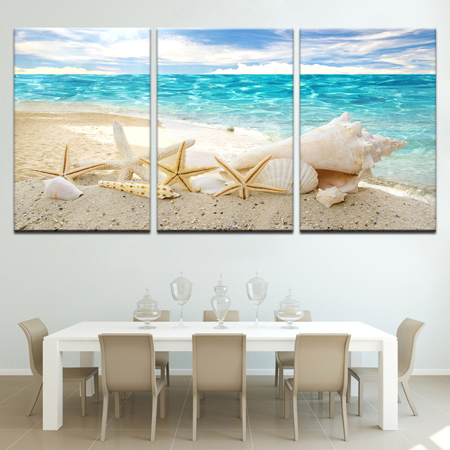 Canvas Prints Paintings Home Decor 3 Pieces Beauty Seaview Sea Shells Pictures Beach Posters Living Room Wall Art Modular Framed