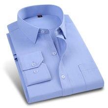 16e157494eb Nueva primavera de Sarga de Color Sólido Hombres Camisa de Vestir Ropa de  Trabajo de Manga