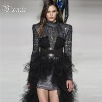 Vicente Горячая 2019 элегантный дизайн с блестками Пояса Мода сетки с длинными рукавами О образным вырезом цвет блок Bodycon мини платье