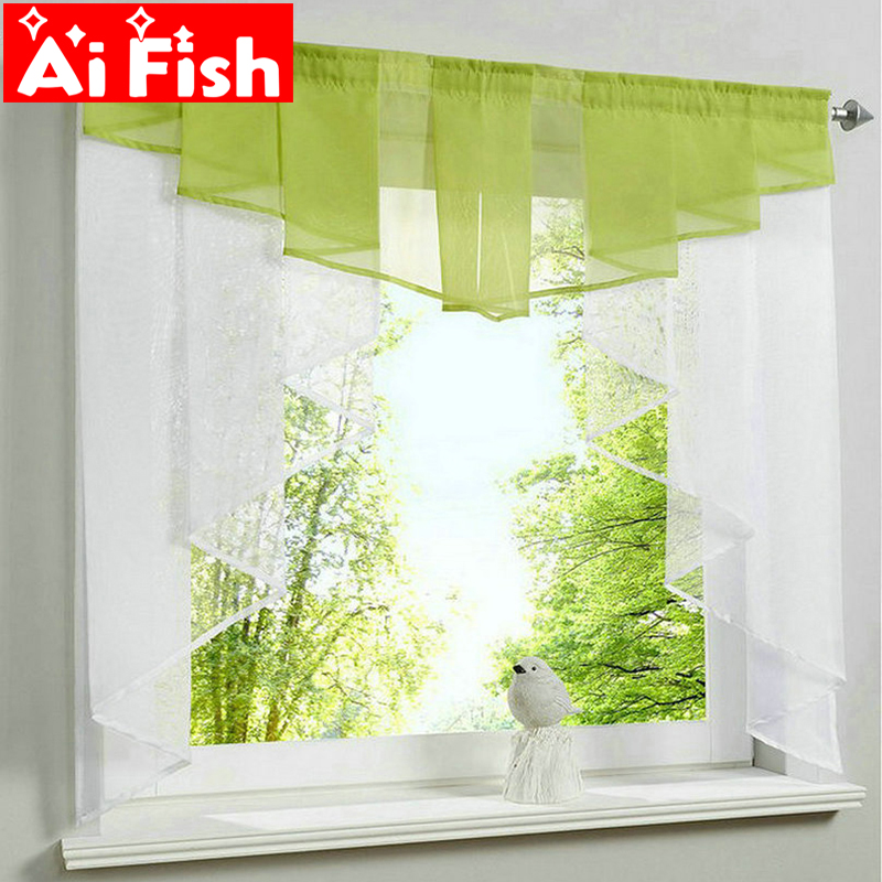 Us 8 92 36 Off New Fashion Pleated Design Stitching Colors Tulle Balcony Kitchen Window Curtains Gauze Small Coffee Curtain Dl033 30 In Curtains