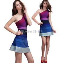 Women Colorful Dress Gradient Purple One Shoulder A Line Bandage Dress for the Club DM758