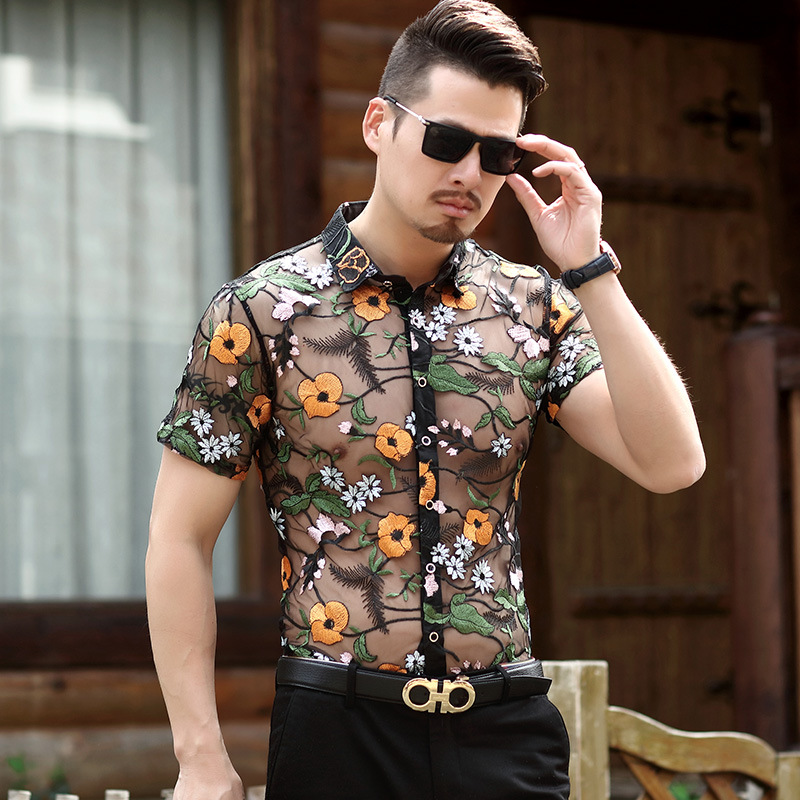 Flower Lace Shirt Embroidery See Through Shirt Men Chemise Homme Marque Luxe Mesh Hollow out Shirt Summer Short Sleeve Shirt ...