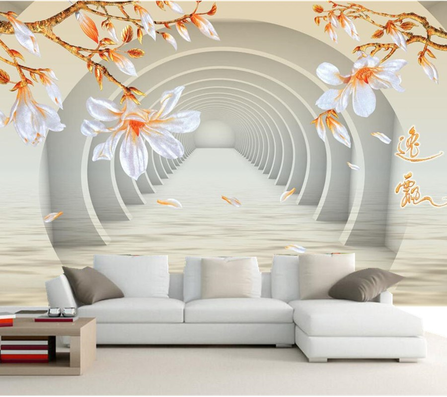 Custom large murals three dimensional space jade orchid 3d for Wall papers for rooms