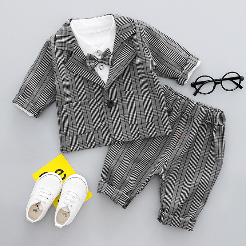Baby Boys Clothes Tuxedo Suit For Wedding Party Child Birthday Blazer Set 3pcs:Coat+Shirt+Pants Boy Formal Dress Baptism Clothes 2016 leisure baby boys clothes set gentleman handsome formal wear wedding vest white t shirt tie pants party suits free shipping