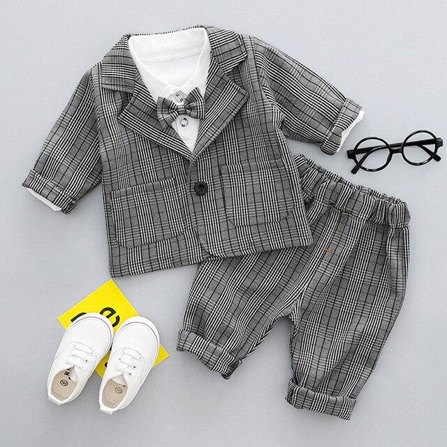b5f1531d274b Baby Boys Clothes Tuxedo Suit For Wedding Party Child Birthday Blazer Set  3pcs:Coat+Shirt+Pants Boy Formal Dress Baptism Clothes