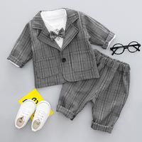 Baby Boys Clothes Tuxedo Suit For Wedding Party Child Birthday Blazer Set 3pcs:Coat+Shirt+Pants Boy Formal Dress Baptism Clothes
