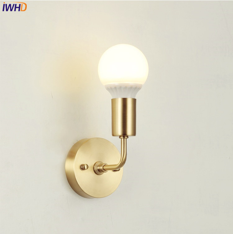 IWHD Copper LED Wall Lights For Home Lighting Living Room Nordic Creative Beside Lamp LED Bathroom Mirror Light Wall Sconce 40cm 12w acryl aluminum led wall lamp mirror light for bathroom aisle living room waterproof anti fog mirror lamps 2131