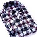 2017 Новый Матовый Плед мужская Рубашка С Длинным Рукавом мужская Повседневная Шерстяная Рубашка Рубашка Способа Качества