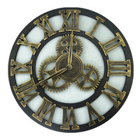 Large Wall Clock Slient Gear Wooded 3D Retro Vintage Art Wall Watches Roman Style Circular Over sized Saat Home Decor