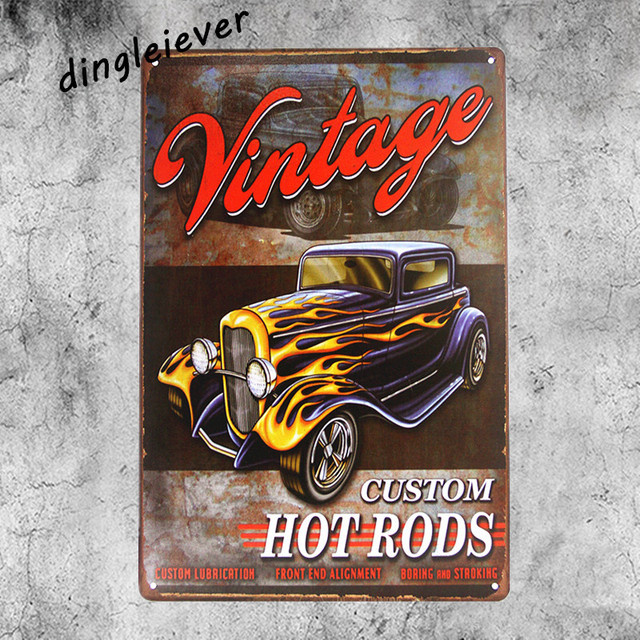 Vintage Customs Hot Rods Metal Sign Home Decor Spark Plug Signs Antique Tray Garage Art Bar