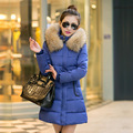 Autumn Winter medium-long women's plus size slim large fur collar down jacket cotton-padded Women jackets and coats