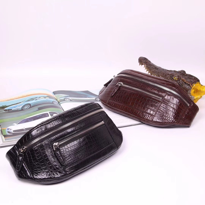 Casual Style Authentic Alligator Belly Skin Men s Small Black Waist Packs Exotic Genuine Crocodile Leather
