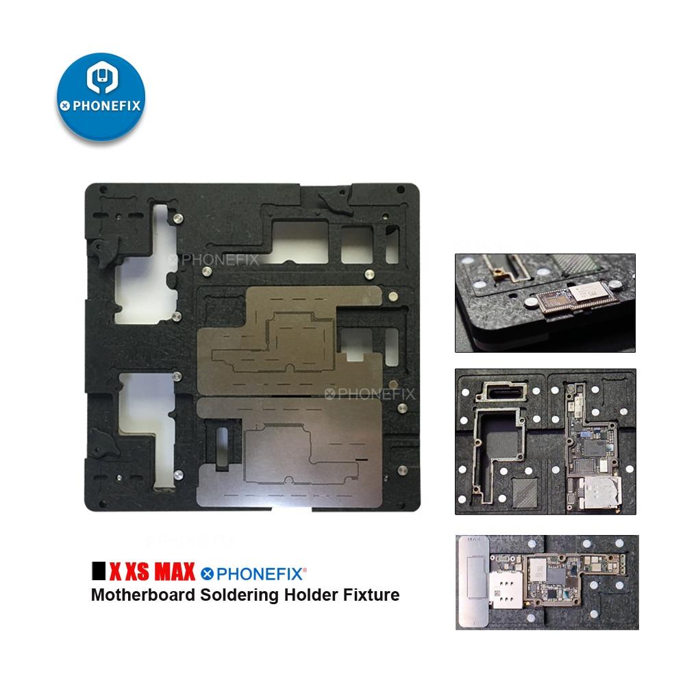 PHONEFIX New 3 In 1 Motherboard Soldering Holder Fixture For IPhone X Xs Max PCB Repair Tool BGA Reballing Stencil Fixture
