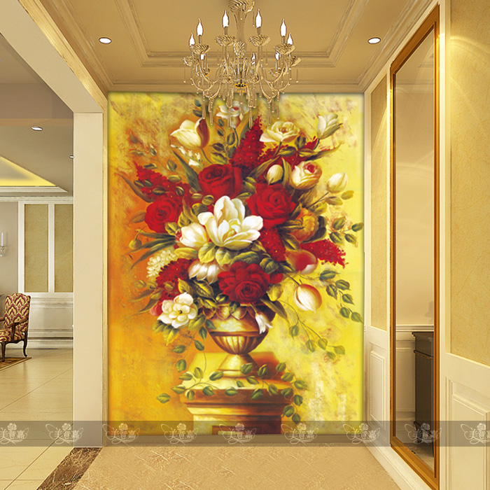 Can be customized abstract art large mural 3d wallpaper bedroom wall covering tv sofa background European oil painting flowers  free shipping european painting body art wedding room bedroom hotel sauna ktv large mural wallpaper
