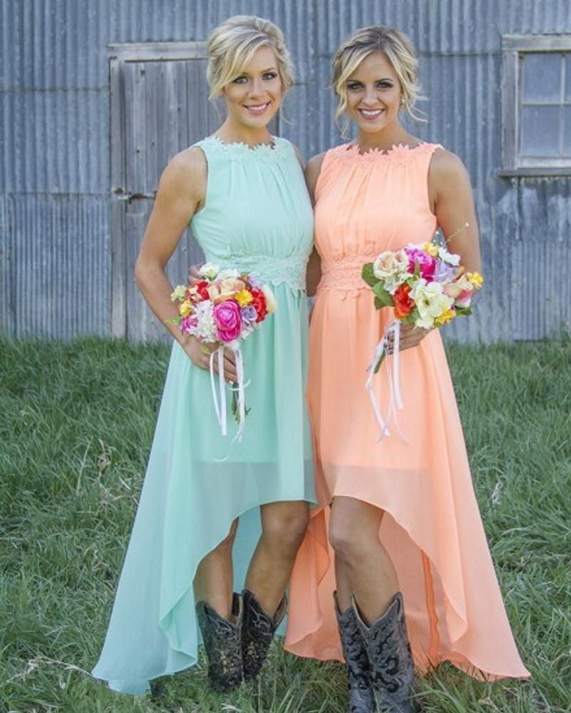Teal and Coral Bridesmaid Dresses