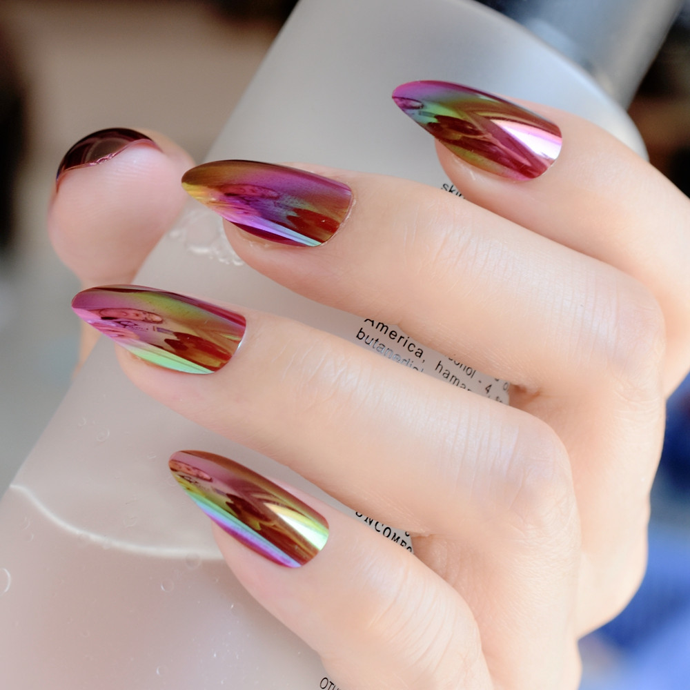 Holographic Rainbow Stiletto Fake Nails Mirror Chrome Gold Rose Color False Nail Full Cover Magic Effect Acrylic Tips In From Beauty