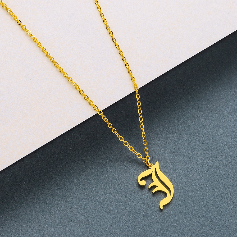 Todorova Old English Custom Capital Initial A-Z Letter Pendant Necklace Men Vintage Font Personalized Necklace Women Jewelry 28