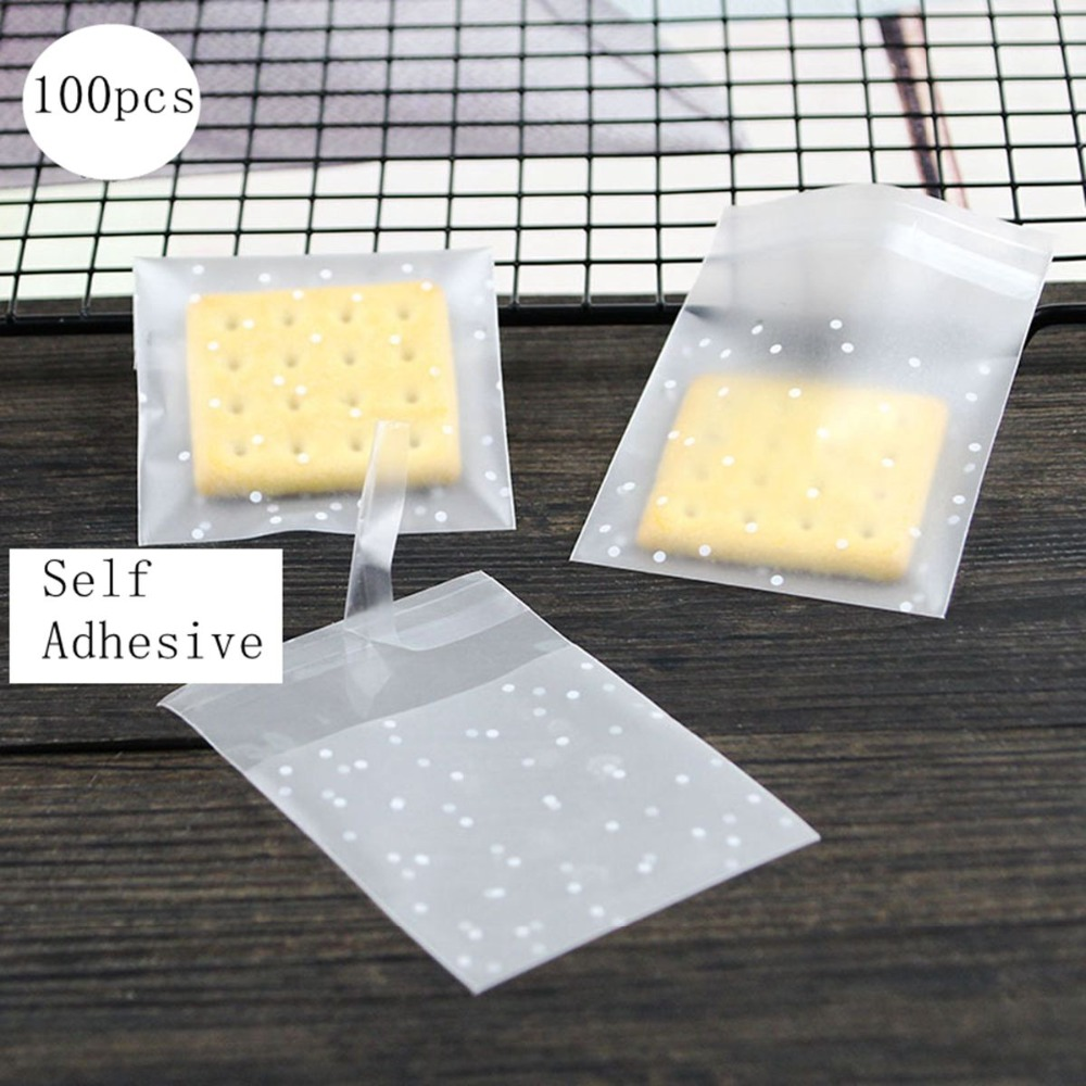 Wholesale lot 100PCS Thicken Dot Frosted Plastic Transparent Cellophane Cookie /Gift/Candy Bags Biscuits Package Self Adhesive