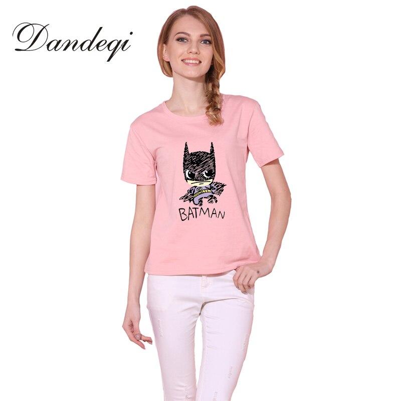 Dandeqi Blusa Sale Summer Style Women T-shirt Batman Printed Tees Quality Super Hero Basic Harajuku Cotton Bottoming Tops