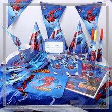 На тему Человека-паука День Рождения Декор бумажная салфетка под тарелку кружку баннер/Флаг коробка для конфет соломенная посуда набор детский душ вечерние принадлежности